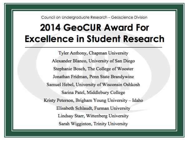 2014 GeoCUR Student Award